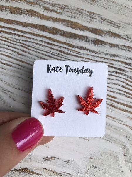 Red Leaf Sparkly Stud Acrylic Earrings