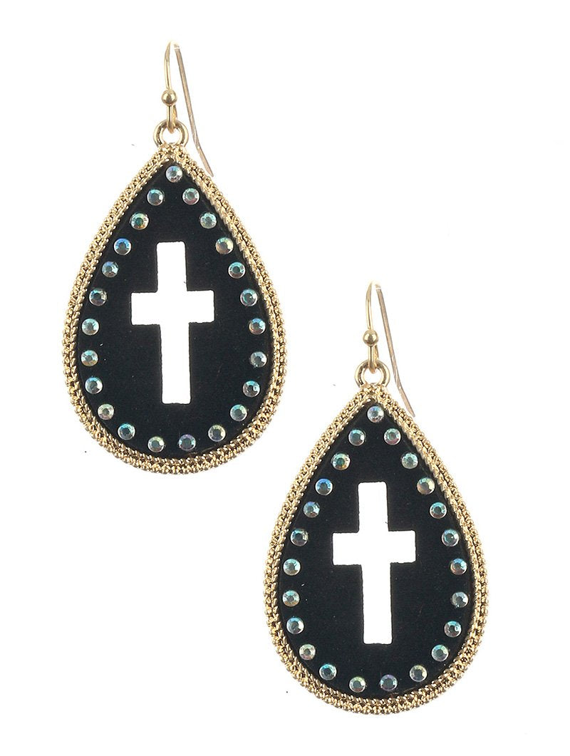 Cross Studded Leather Teardrop Earrings Black