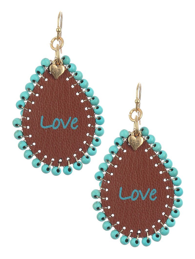 Beaded Leather Love Earrings Brown + Turquoise