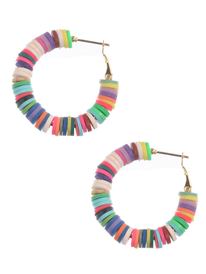 Rainbow Disk Summer Hoop Earrings