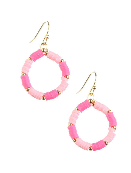 Flamingo Pink Summer Hoop Earrings