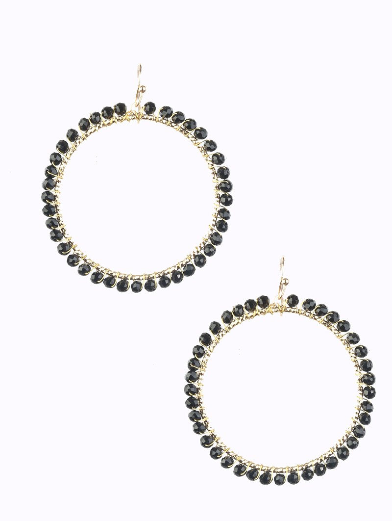 Black Bead and Wire Hoop Earrings