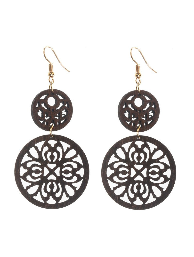 Brown Wood Round 2 Layer Earrings