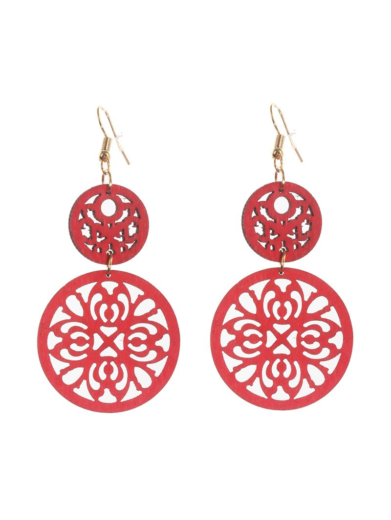 Red Wood Round 2 Layer Earrings
