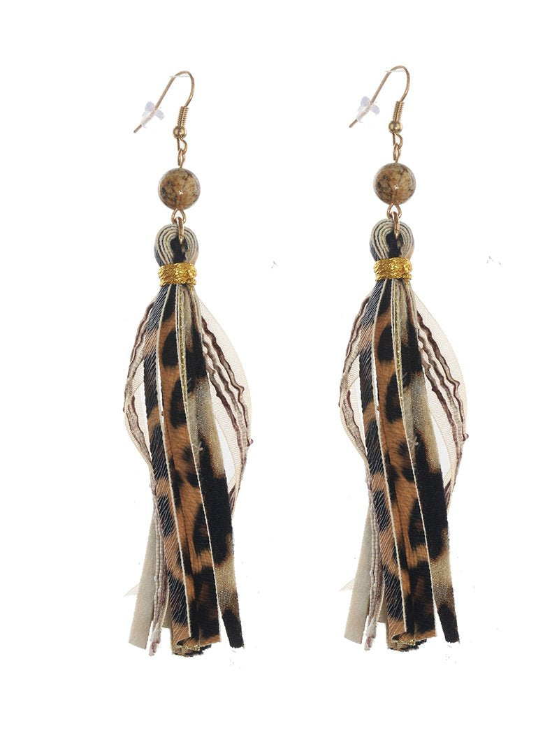 Fringe Cheetah Leopard Leather Earrings