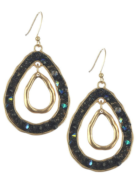 Black Metallic Teardrop Hang Earrings