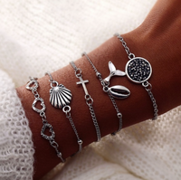 Silver Druzy Shell Cross Whale Tail Summer Bangle Bracelet Set