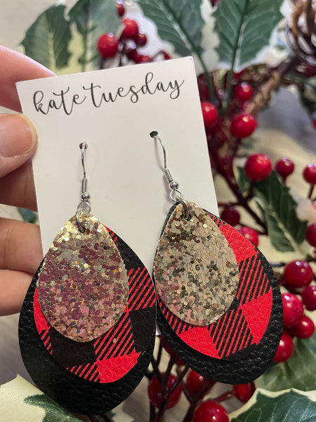 Holiday Glitter 3 Layer Faux Leather Earrings