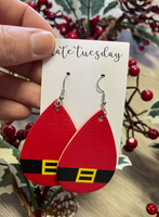 Red Santa Belt Faux Leather Earrings