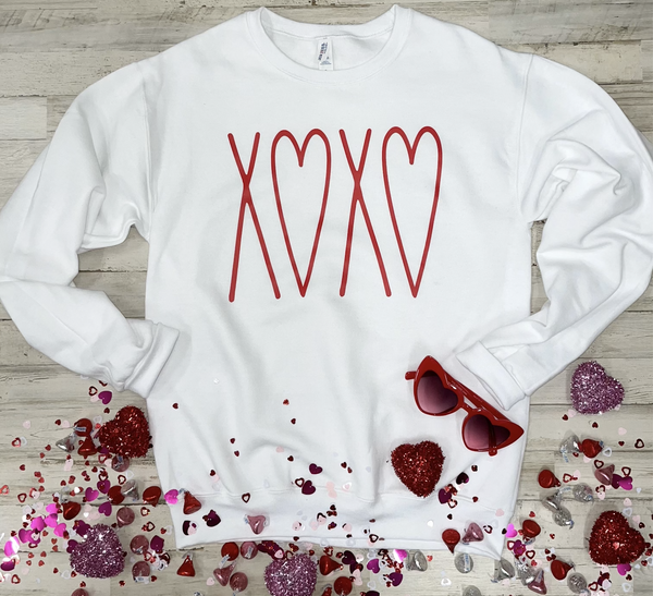 XOXO (Red Ink) White Sweatshirt