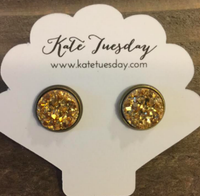 Gold Metal Druzy 12mm Earrings