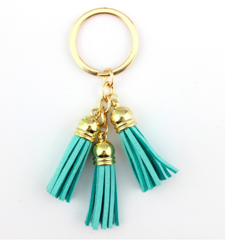 Turquoise Leather Tassel Key Chains