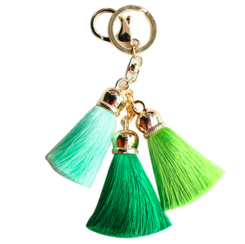 Green Plush Bright Colored Tassel Key Chains