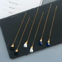Load image into Gallery viewer, Gold Stone Dangle Earrings
