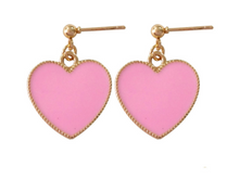 Load image into Gallery viewer, Heart Stud Dangly Earrings