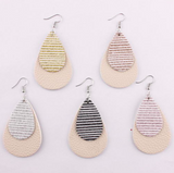 Striped Leather Glitter Hang Earrings Gold