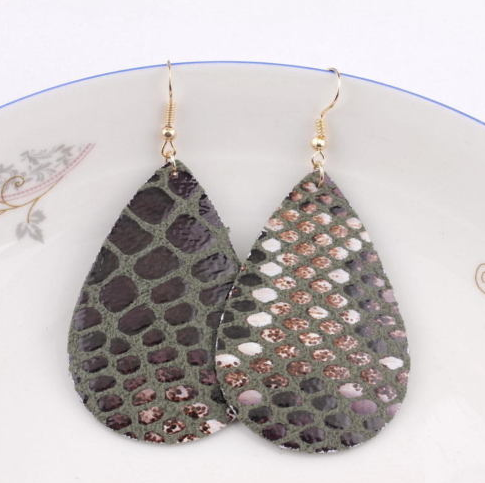 Green Faux Animal Print Leather Earrings