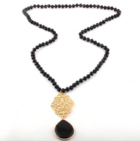 Gold Stone Drop Filigree Statement Necklace