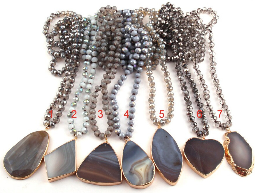 Glassy Moon Stone Statement Necklace