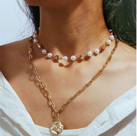 Gold Goddess Faux Pearl Two Layer Necklace