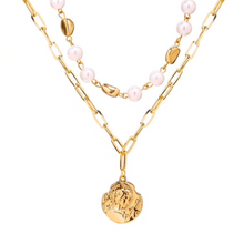 Load image into Gallery viewer, Gold Goddess Faux Pearl Two Layer Necklace