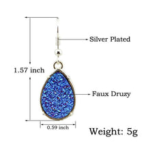 Load image into Gallery viewer, Silver Druzy Teardrop Earrings