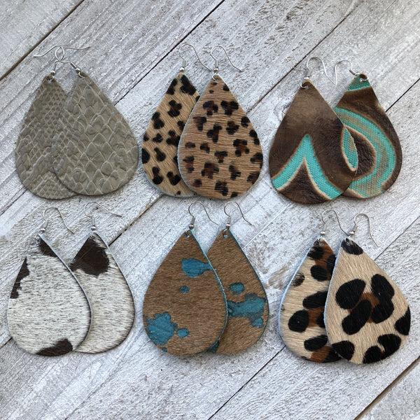 Aztec Hair On Hide Leather Fall Animal Print Earrings