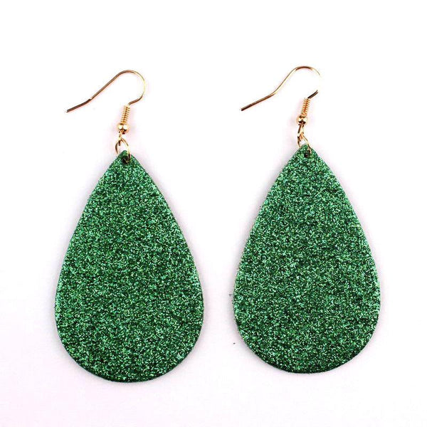 Green Glitter Teardrop Earrings