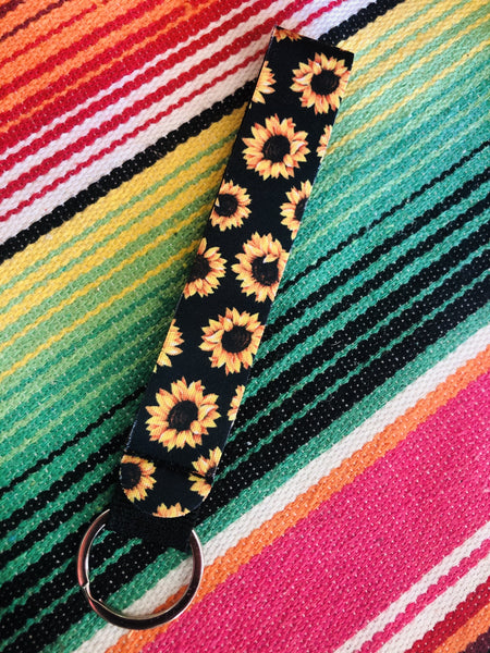 Black Sunflower Neoprene Keychains