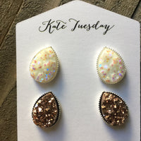 Ali Teardrop Druzy Earrings Set