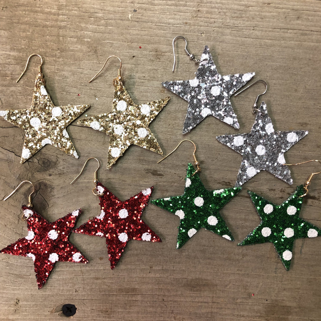 Glitter Star Holiday Earrings
