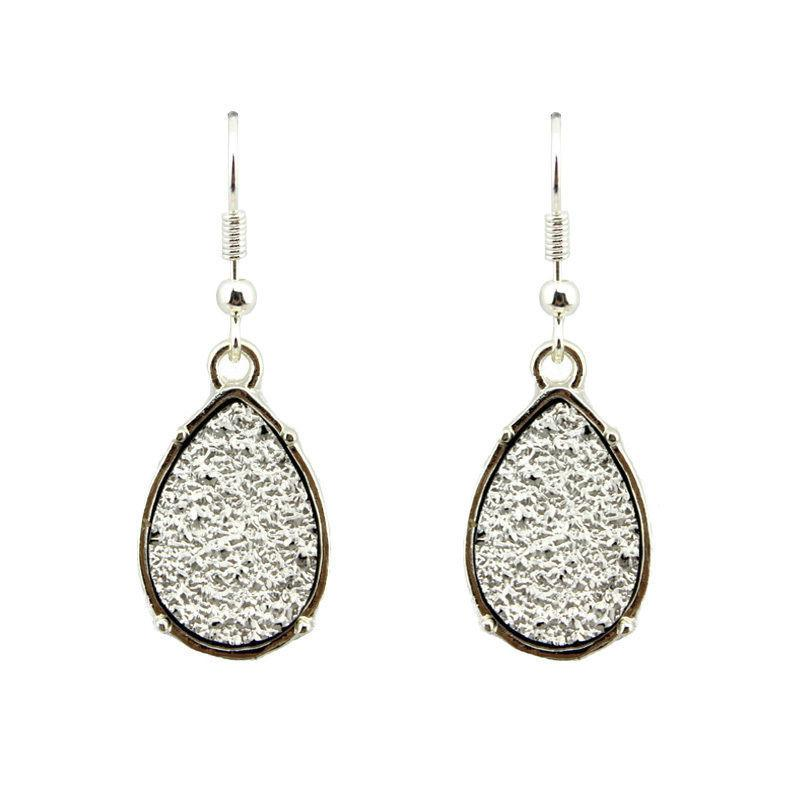 Silver Druzy Teardrop Earrings