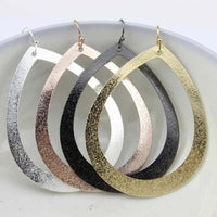 Metallic Metal Open Teardrop Earrings
