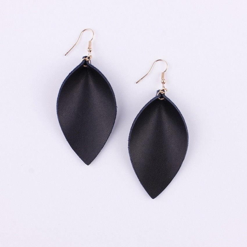 Fall Folded Pinched Leaf Leather Drop Earrings