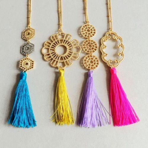 Metal Lace Gold Tassel Necklaces