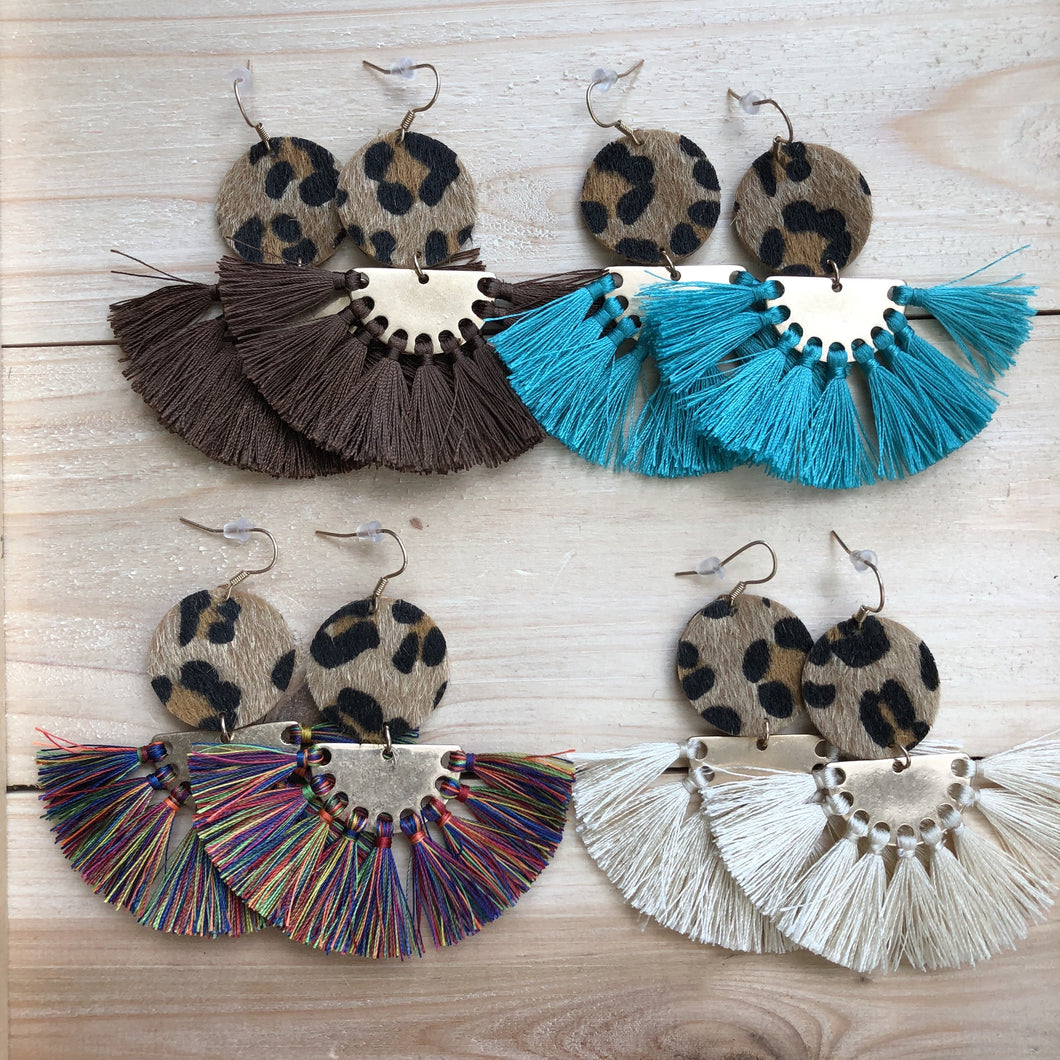Cheetah Colorful Fringe Earrings
