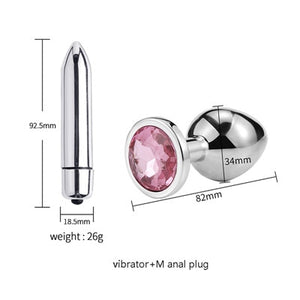 Simple Smooth Butt Plug with optional mini Vibrator set