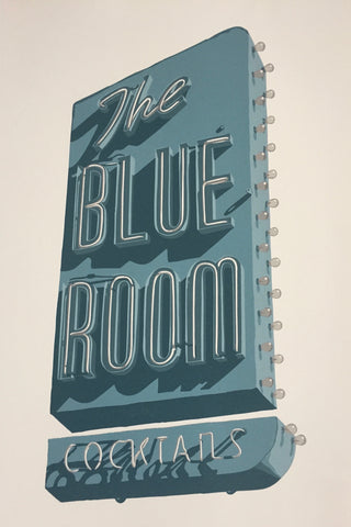 color reduction printmaking - Dave Lefner - Blue Room - finished print