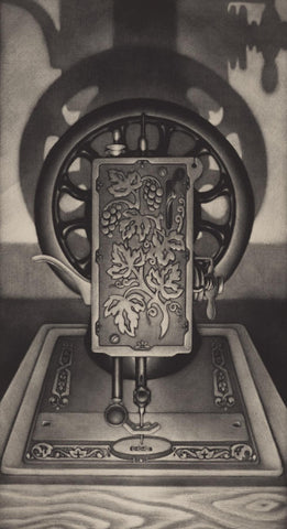 Carol Wax - Singer II - sewing machine close up - dramatic contrasted light - mezzotint