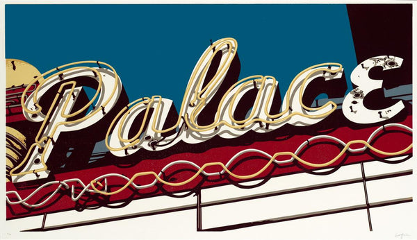 color linocut reduction - route 66 images - pop art printmaking - Dave Lefner - The Palace