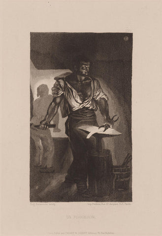 Eugene Delacroix - Un Forgeron - blacksmith at work - contrasted image with dramatic light coming of molten metal - aquatint