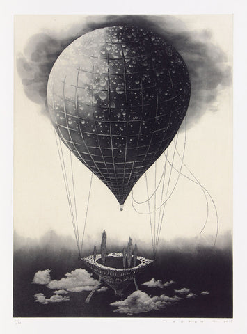 Fumiko Takeda - 武田 史子 - Wandering Stars - 彷徨う星 - intaglio - etching aquatint - hot air balloon