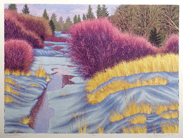 Gordon Mortensen - Manitoba - color woodcut reduction - original color woodcut