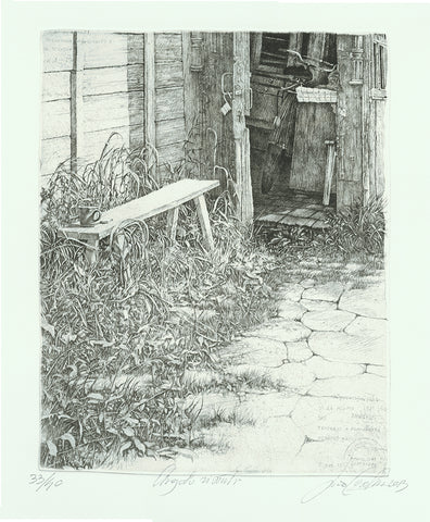 Livio Ceschin - Angoli Vissuti - Happy Places - Lived Corners Nooks - etching drypoint - bench outside -coffee cup