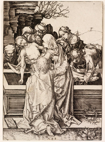 Martin Schongauer - The Entombment - engraving - Christ in the arms of his mother Mary