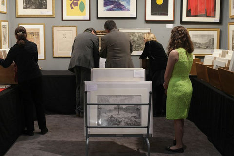 Print Fair - New York - NY - Browsing inventory - flipping through the print racks