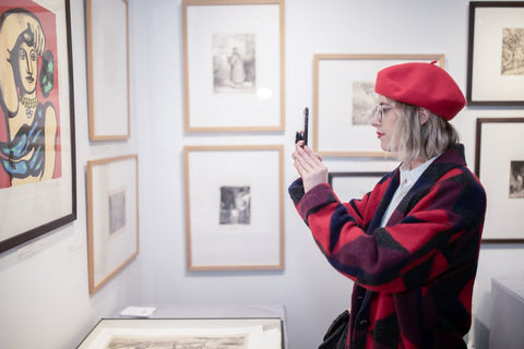 Print Fair - New York - NY - Taking a photograph of art at New York Print Fair