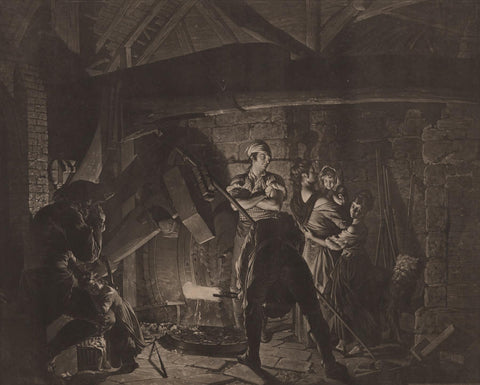 Richard Earlom - The Forge - mezzotint - chiarobscuro rendering contrasted of inside of a forge animated