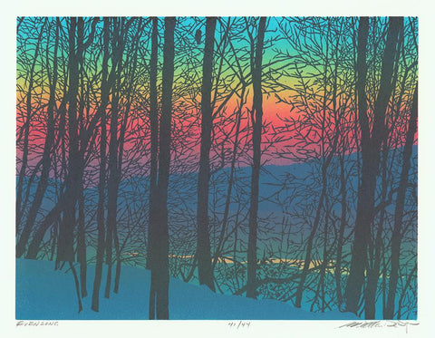 William H. Hays - Evensong - color linocut