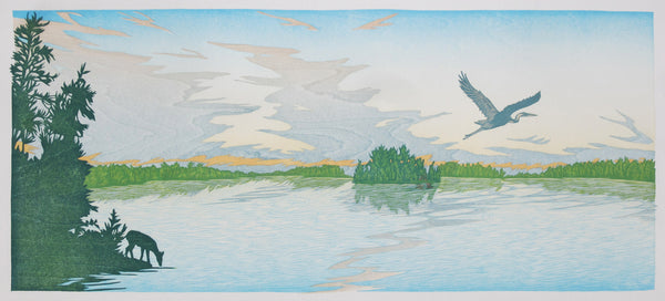 color woodcut reduction print by Nick Wrobleski - Wake Up Island
